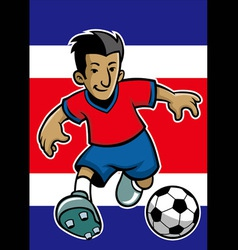 Costa rica soccer player with flag background vector image vector image