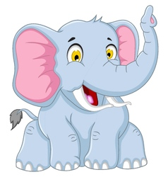 cute elephant cartoon posing vector image vector image