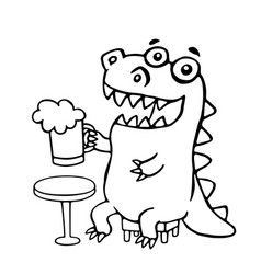 dragon sitting with a mug of beer vector image vector image