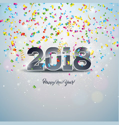 happy new year 2018 with 3d number vector image