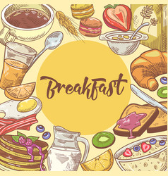 healthy breakfast hand drawn design with croissant vector image vector image