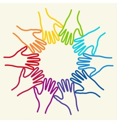 People colorful hands united together vector image