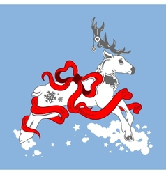 christmas deer with bow and ribbons vector image vector image