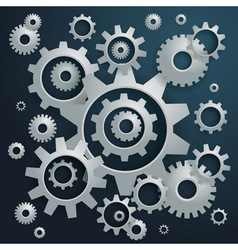 Connected realistic dimensional gear cogs silhouet vector image