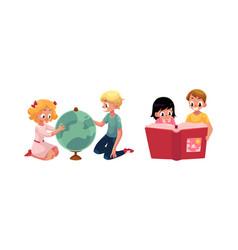 kids children learning studying globe reading vector image vector image
