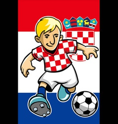 Croatia soccer player with flag background vector