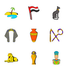 egyptians icons set cartoon style vector image