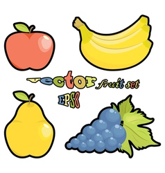 fruit set apple pear grapes bananas on white backg vector image vector image