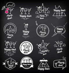 Happy hour party invitation cocktail chalkboard vector