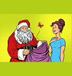 joyful santa claus without gifts and beautiful vector image vector image