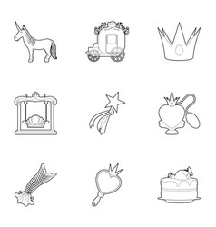little princess equipment icons set outline style vector image vector image