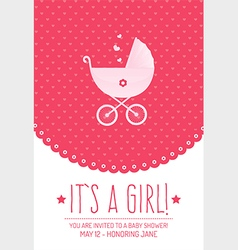 Pink Baby Shower Invitation Card vector image