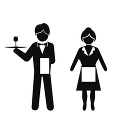 waiter and waitress icon vector image vector image