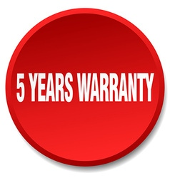 5 years warranty red round flat isolated push vector