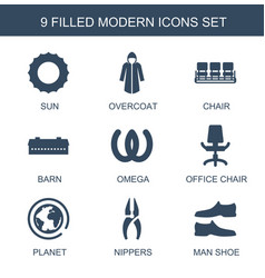 9 modern icons vector