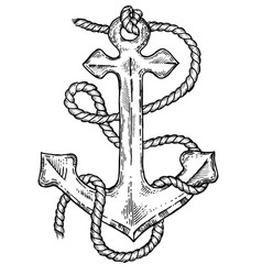 Anchor and rope engraving style vector