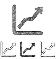 Ascending icon set - sketch line art vector