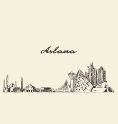 astana skyline kazakhstan city drawn sketch vector image