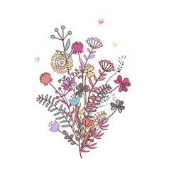 autumn bouquet doodle floral composition wirh vector image