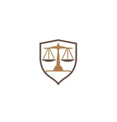 balance scales in shield logo vector image