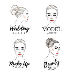 Beautiful woman logo set model academy logo vector