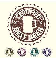 Beer label stamp with text certified best beer vector