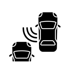 Blind spot monitoring system black glyph icon vector
