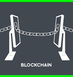 blockchain computer screen chain vector image