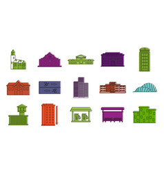 buildings icon set color outline style vector image