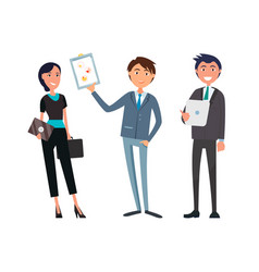 Business people man and woman planning strategy vector