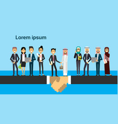 Businessman in business suit shaking hands arabic vector