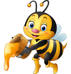 Cartoon bee holding bucket with honey dripping vector