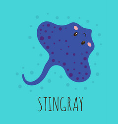 cartoon card with cute stingray vector image