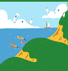 cartoon summer seascape with cute clouds and vector image