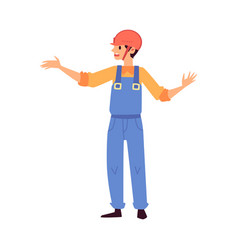 Cartoon warehouse worker in blue uniform gesturing vector