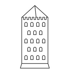 castle tower icon outline style vector image