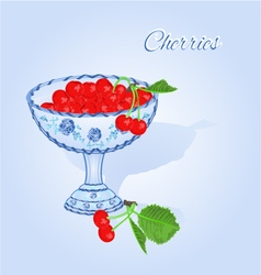 Cherries in a blue cup fruits and leaves vector