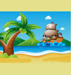 children riding on pirate ship vector image