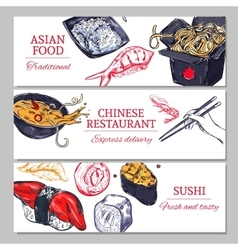 Chinese Food Horizontal Banners vector