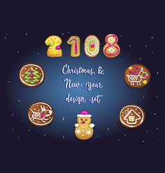 christmas and new year set of different cute vector image