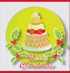christmas cake with butchers broom vector image