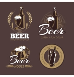 Color beer labels set vector image vector image