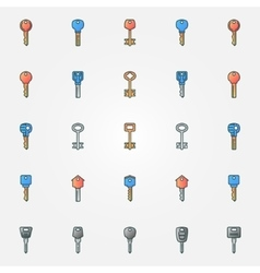 Colorful keys icons vector