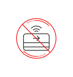 Contactless payment line icon credit card sign vector