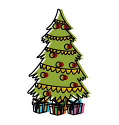 cute christmas tree with giftboxes vector image