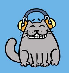 Cute grey cat in headphones vector