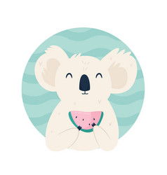 cute koala character eating watermelon vector image