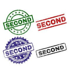 damaged textured second stamp seals vector image