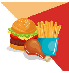 delicious fast food menu vector image