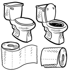 Doodle toilet paper vector